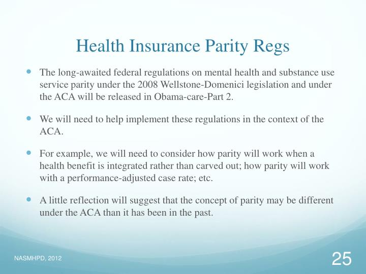 Health Insurance Parity Regs