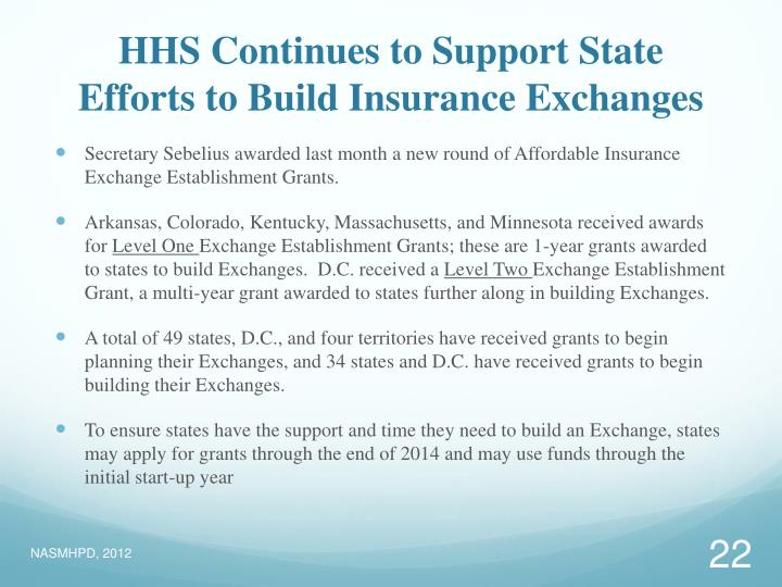 HHS Continues to Support State Efforts to Build Insurance Exchanges