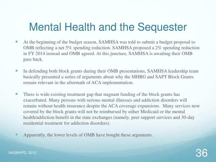 Mental Health and the Sequester