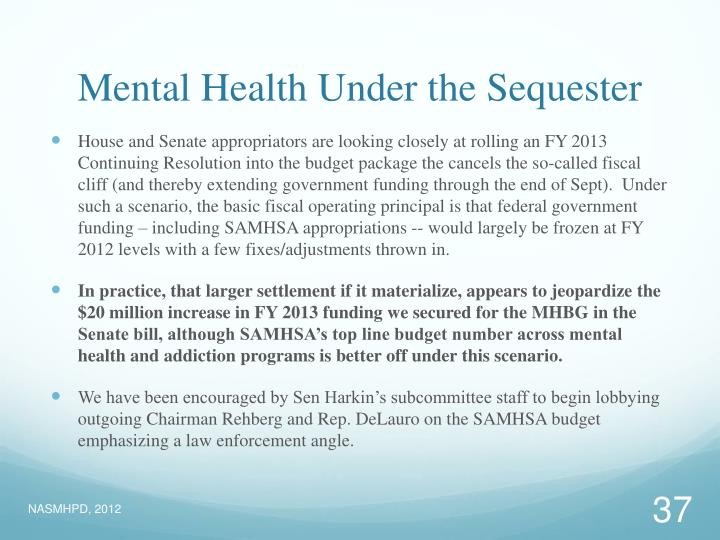 Mental Health Under the Sequester