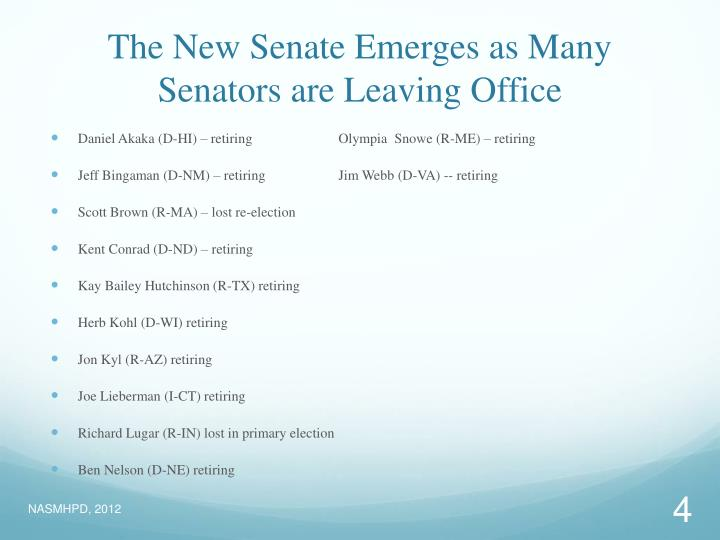 The New Senate Emerges as Many Senators are Leaving Office