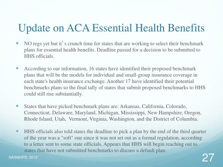 Update on ACA Essential Health Benefits