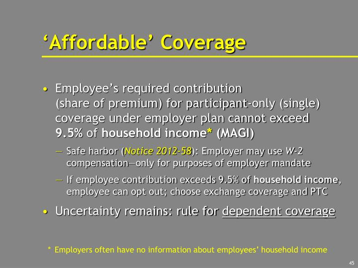 'Affordable' Coverage
