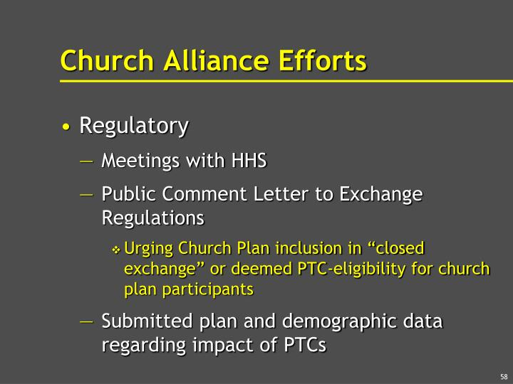 Church Alliance Efforts