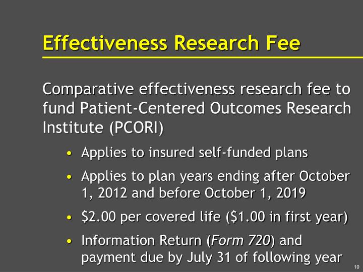 Effectiveness Research Fee