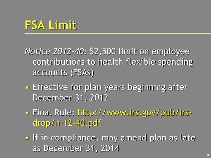 FSA Limit