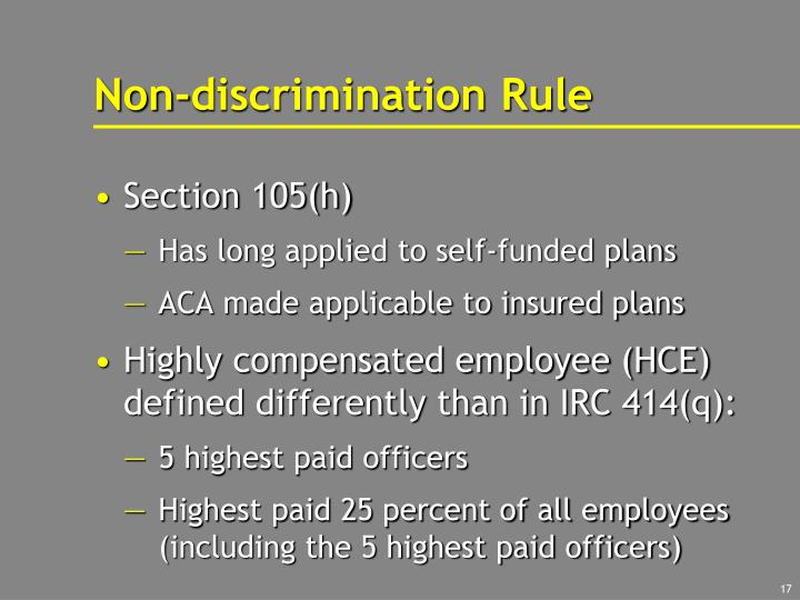 Non-discrimination Rule
