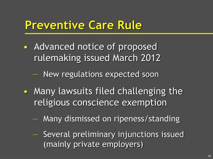 Preventive Care Rule