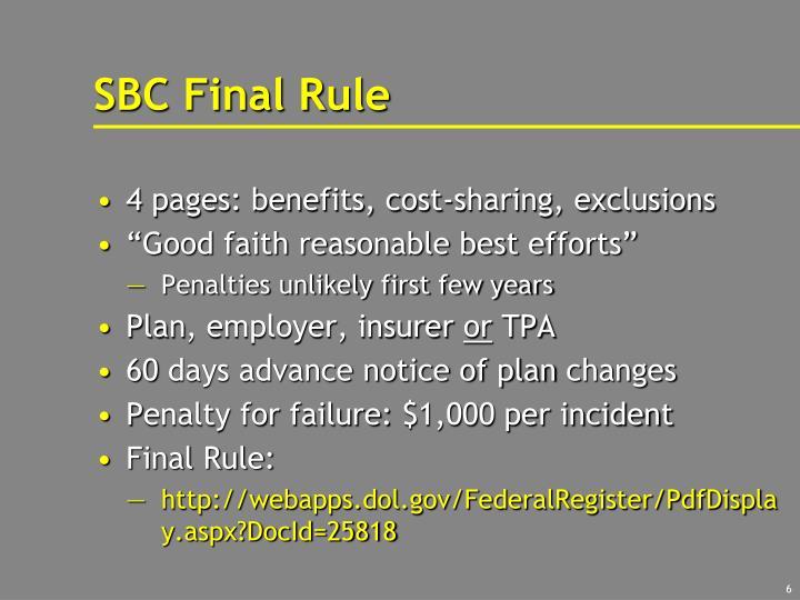 SBC Final Rule
