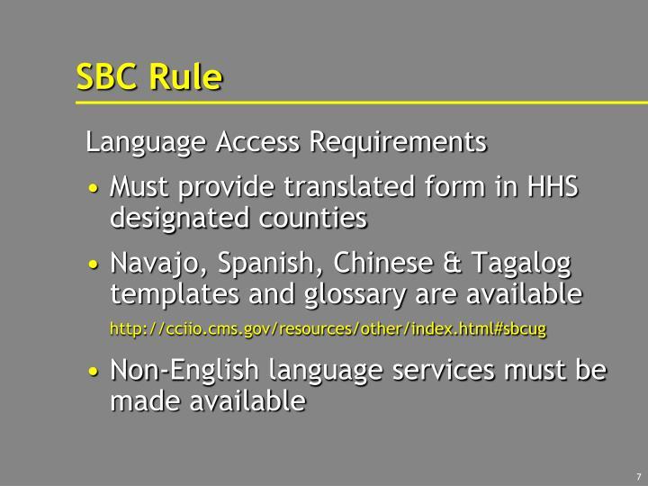 SBC Rule
