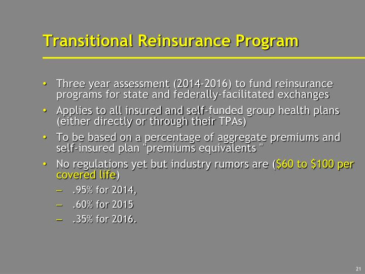 Transitional Reinsurance Program