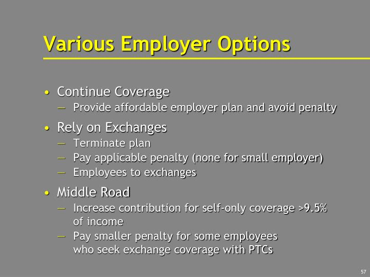 Various Employer Options