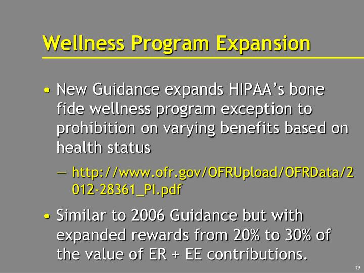 Wellness Program Expansion