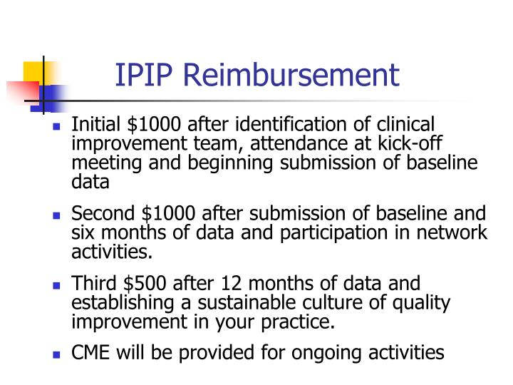 IPIP Reimbursement