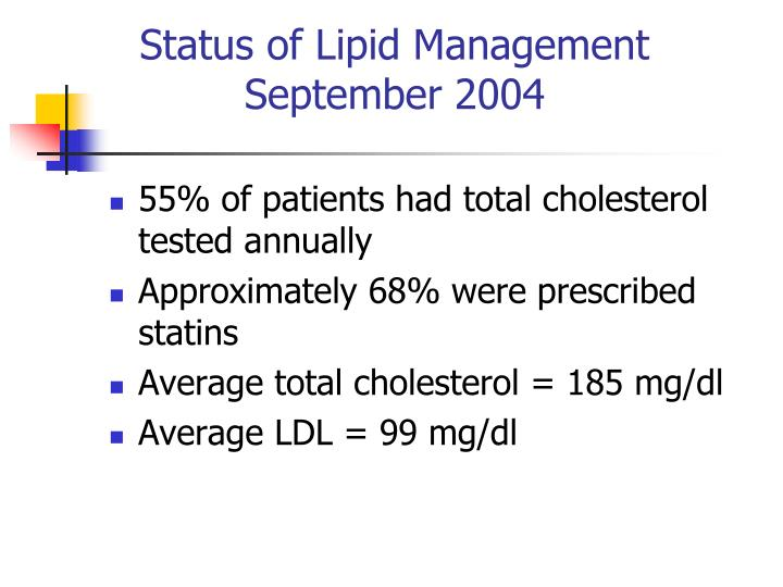 Status of Lipid Management
