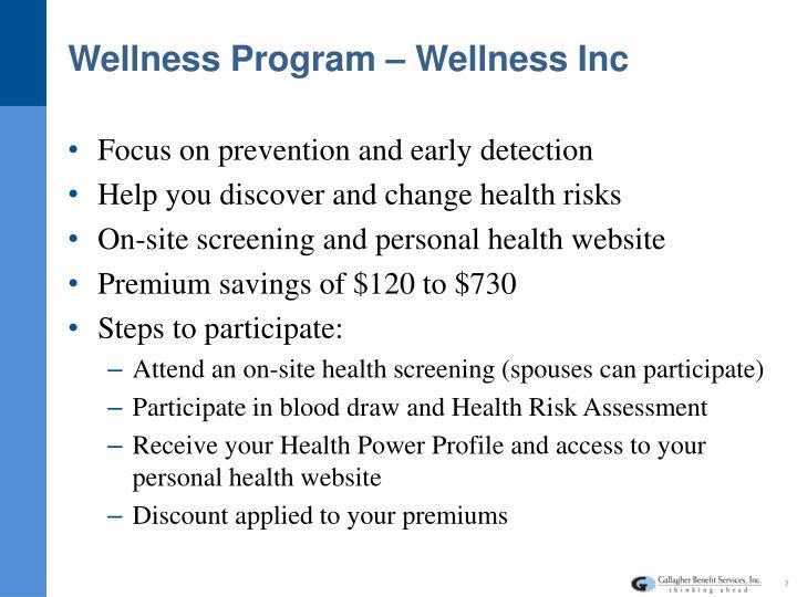 Wellness Program – Wellness Inc