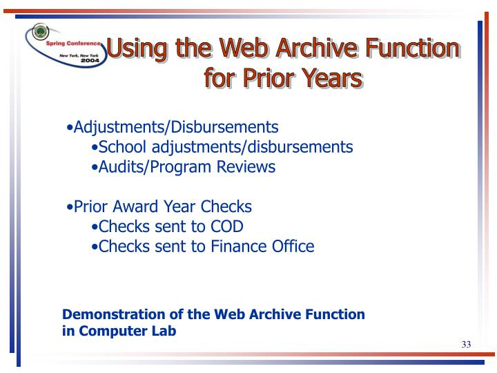 Using the Web Archive Function