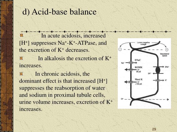 d) Acid-base balance