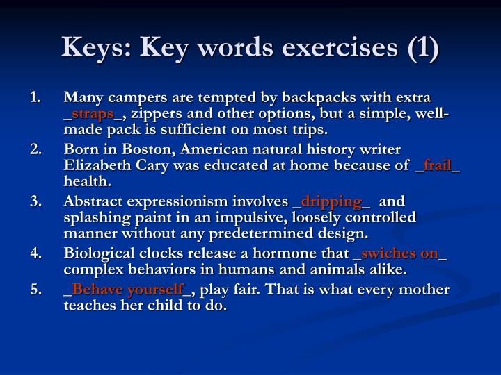 Keys: Key words exercises (1)
