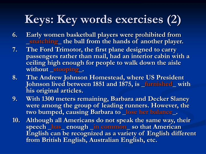 Keys: Key words exercises (2)