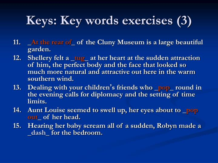 Keys: Key words exercises (3)