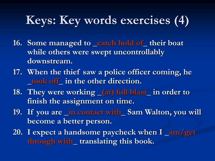 Keys: Key words exercises (4)