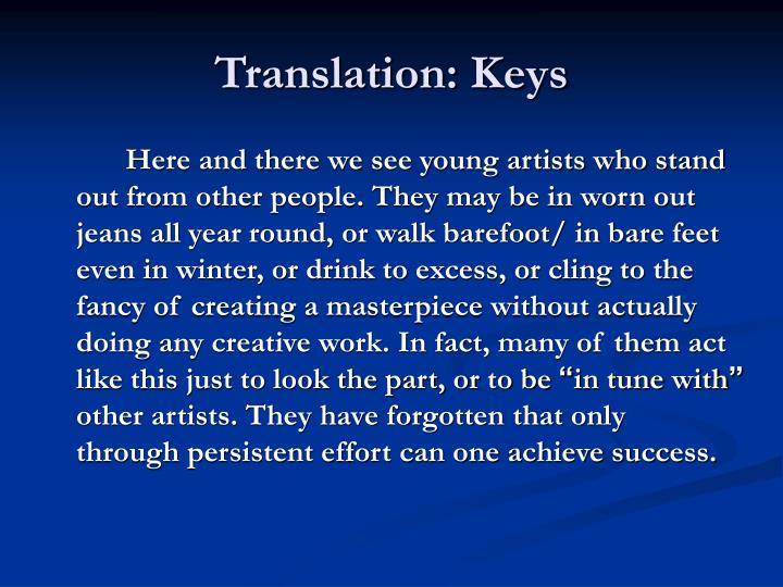 Translation: Keys