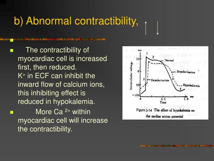 b) Abnormal contractibility,
