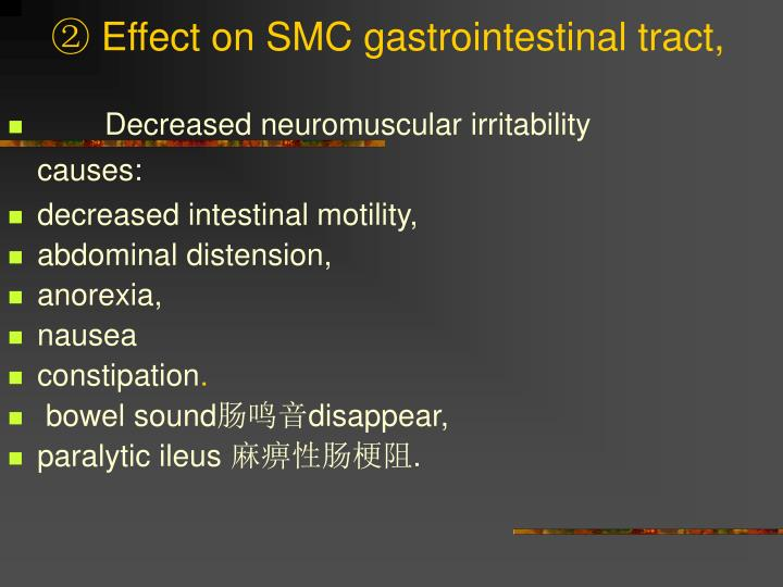 ② Effect on SMC gastrointestinal tract,