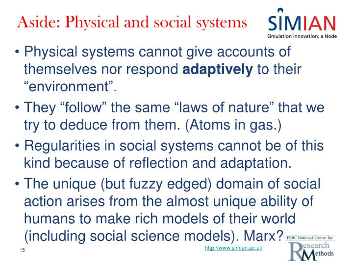 Aside: Physical and social systems