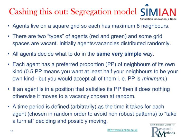 Cashing this out: Segregation model