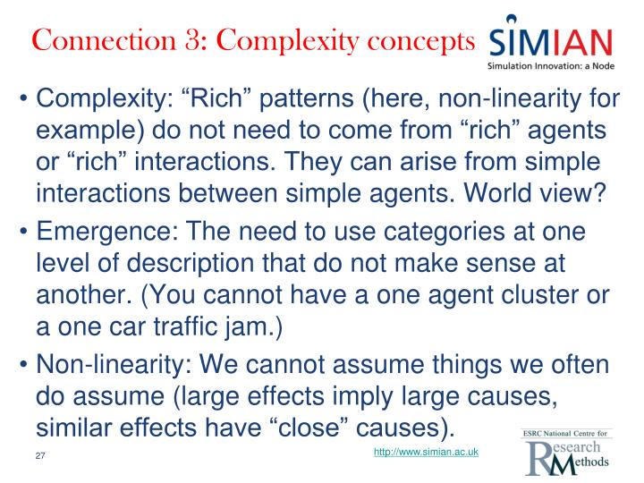Connection 3: Complexity concepts