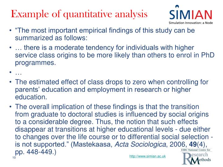 Example of quantitative analysis