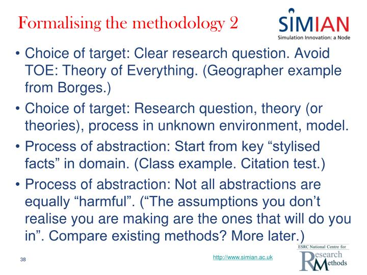 Formalising the methodology 2