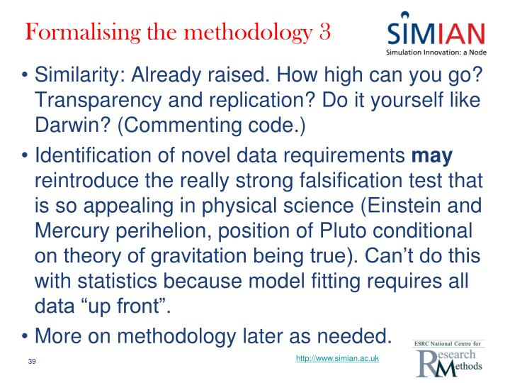 Formalising the methodology 3