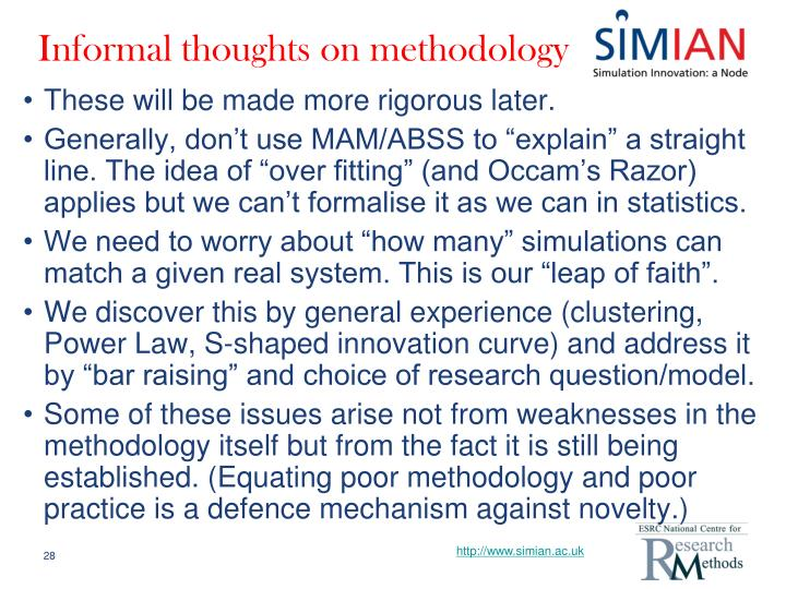 Informal thoughts on methodology