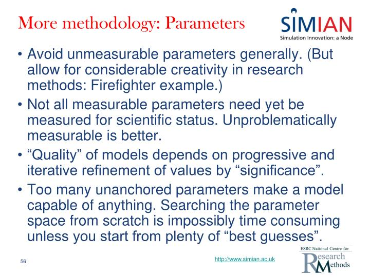 More methodology: Parameters