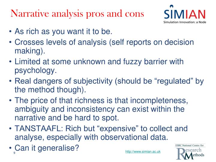 Narrative analysis pros and cons