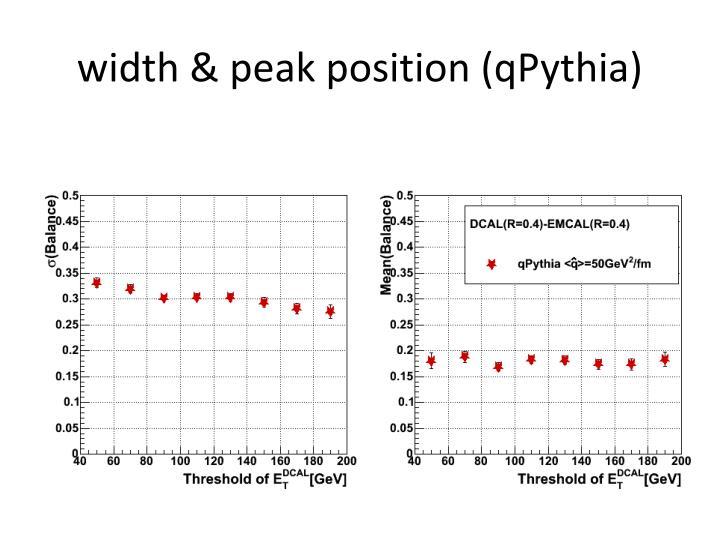width & peak position (qPythia)