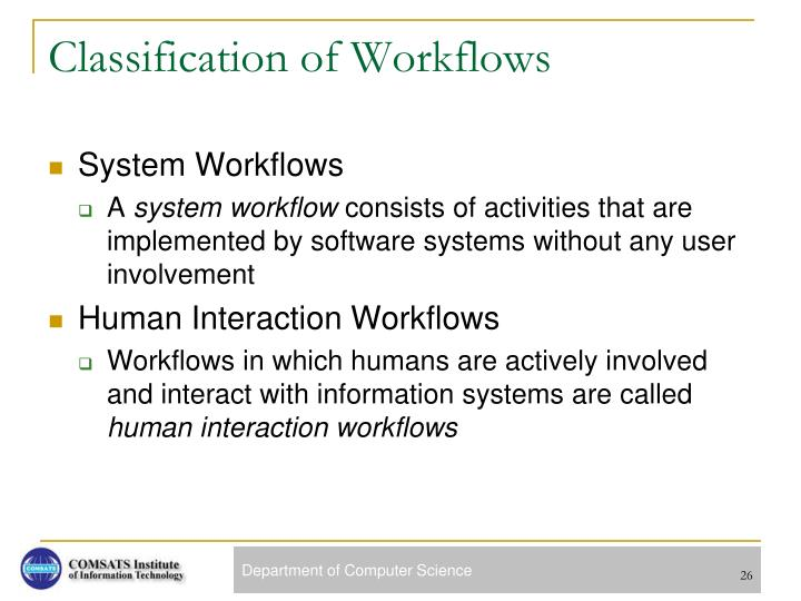 Classification of Workflows