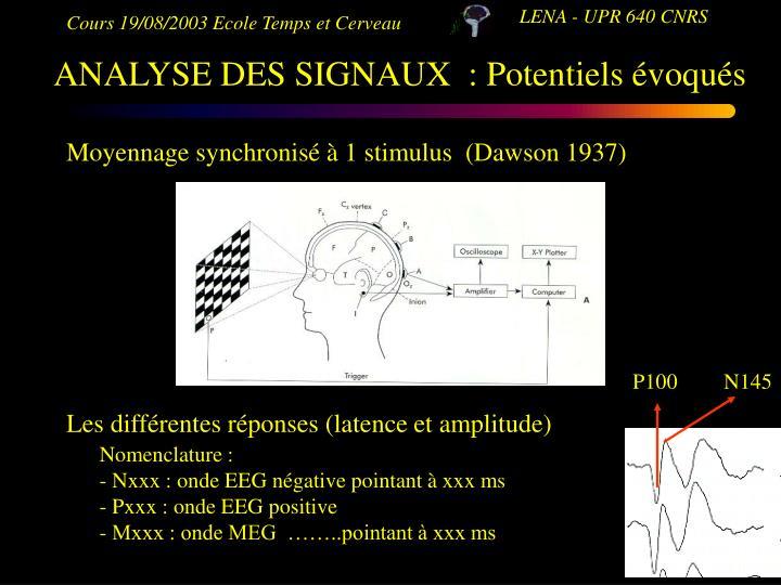 Moyennage synchronisé à 1 stimulus  (Dawson 1937)
