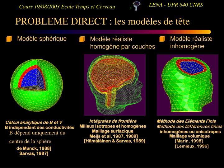 PROBLEME DIRECT : les modèles de tête