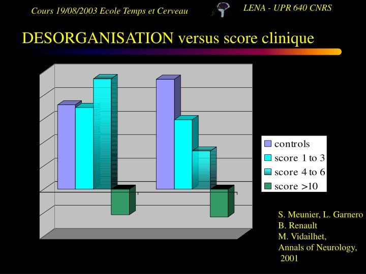 DESORGANISATION versus score clinique