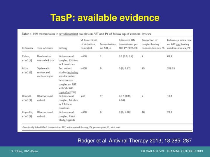 TasP: available evidence