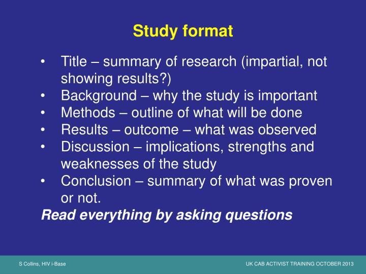 Study format