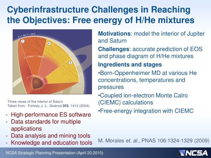Cyberinfrastructure Challenges in Reaching the Objectives: Free energy of H/He mixtures