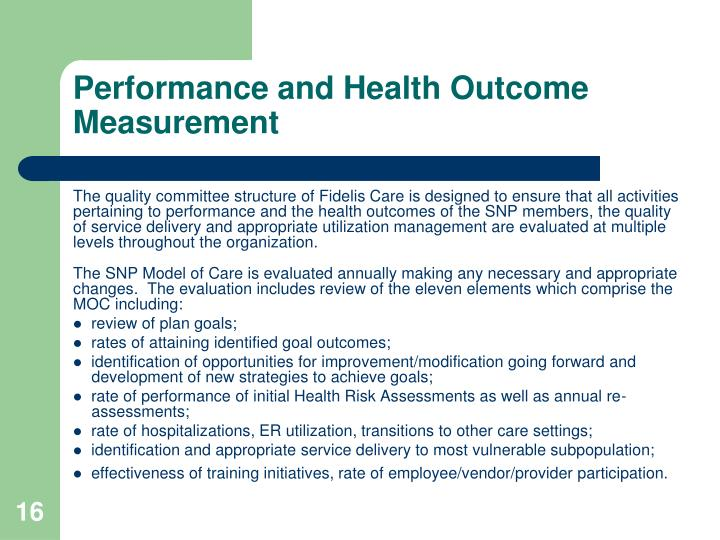 Performance and Health Outcome Measurement