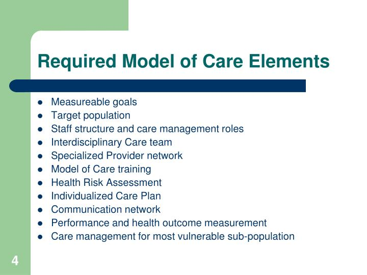 Required Model of Care Elements