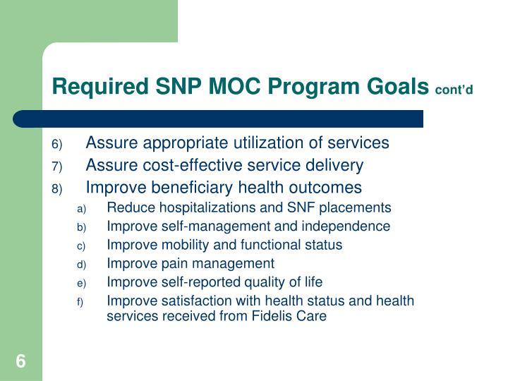 Required SNP MOC Program Goals