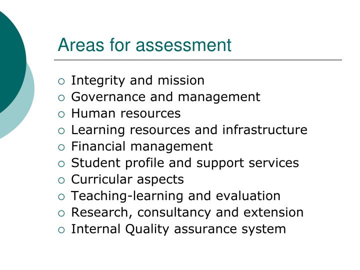 Areas for assessment